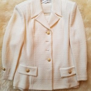 St john my marie gray cream suit